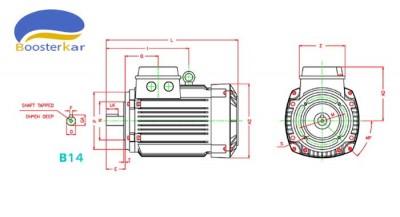 ابعاد-اندازه-موتور-سه-فاز-آلومینیوم-موتوژن-فلنج-دار-b14