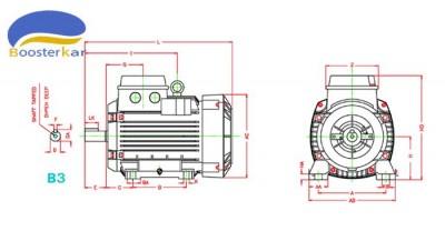 ابعاد-اندازه-موتور-سه-فاز-آلومینیوم-موتوژن-پایه-دار