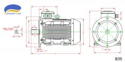 ابعاد-موتور-چدنی-فلنج-دار-100-160