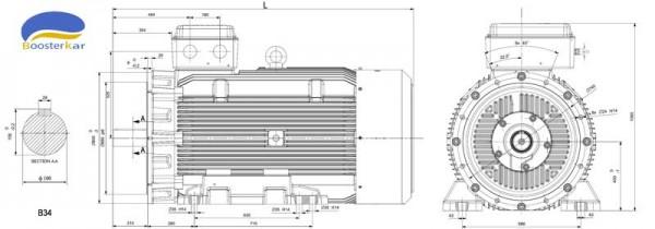 ابعاد-موتور-چدنی-موتوژن-فریم-400-b34