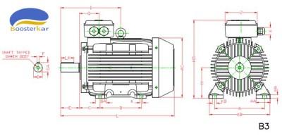 ابعاد-موتور-چدنی-پایه-دار-100-160