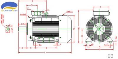 ابعاد-موتور-چدنی-پایه-دار-315-355